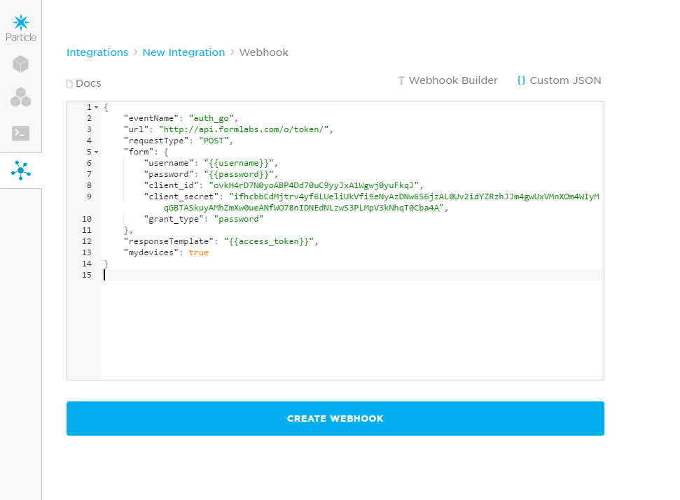 Particle webhook with pasted JSON text.