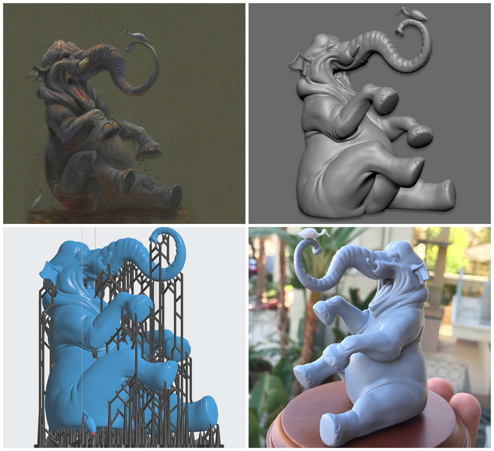 design process for modeling and 3d printing an elephant