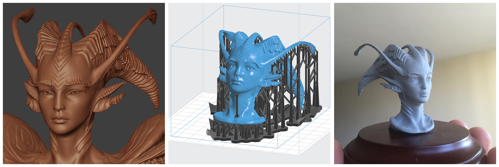 design process for modeling and 3d printing mermaids