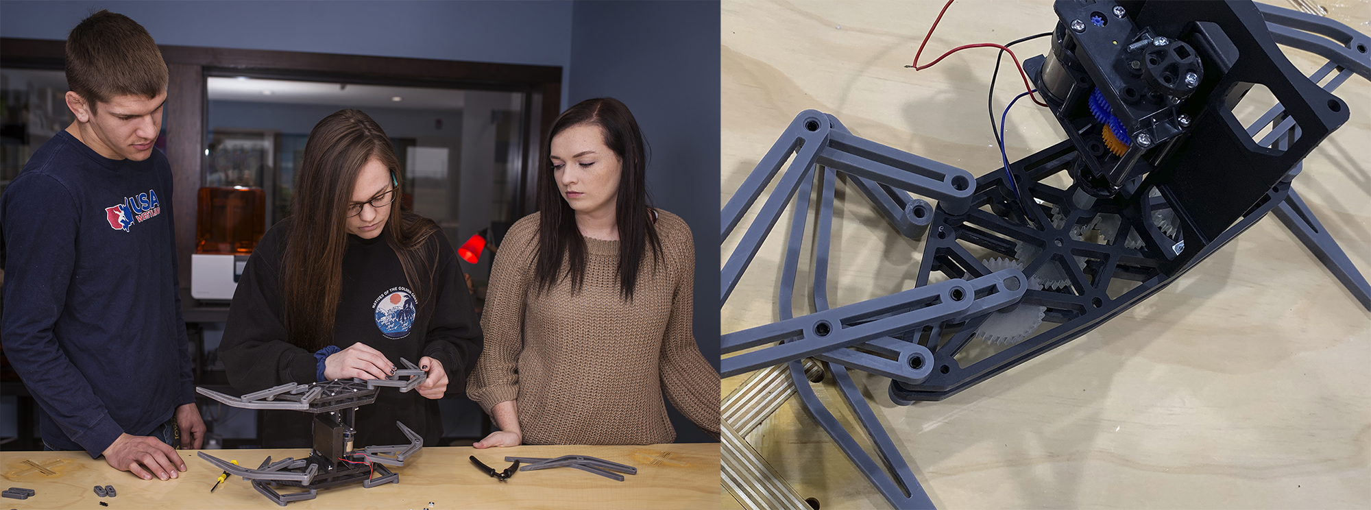 Engineering students work together to assemble a walking robot, made of mechanical elements and 3D printed parts.
