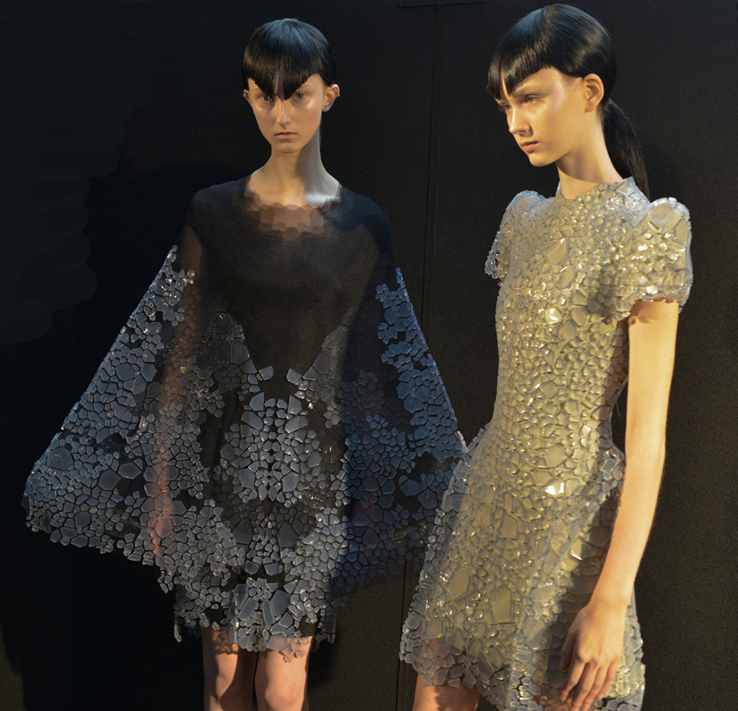"A photo of two couture pieces in ""Between the Lines,"" Beesley's early 2017 collaboration with Iris van Herpen."