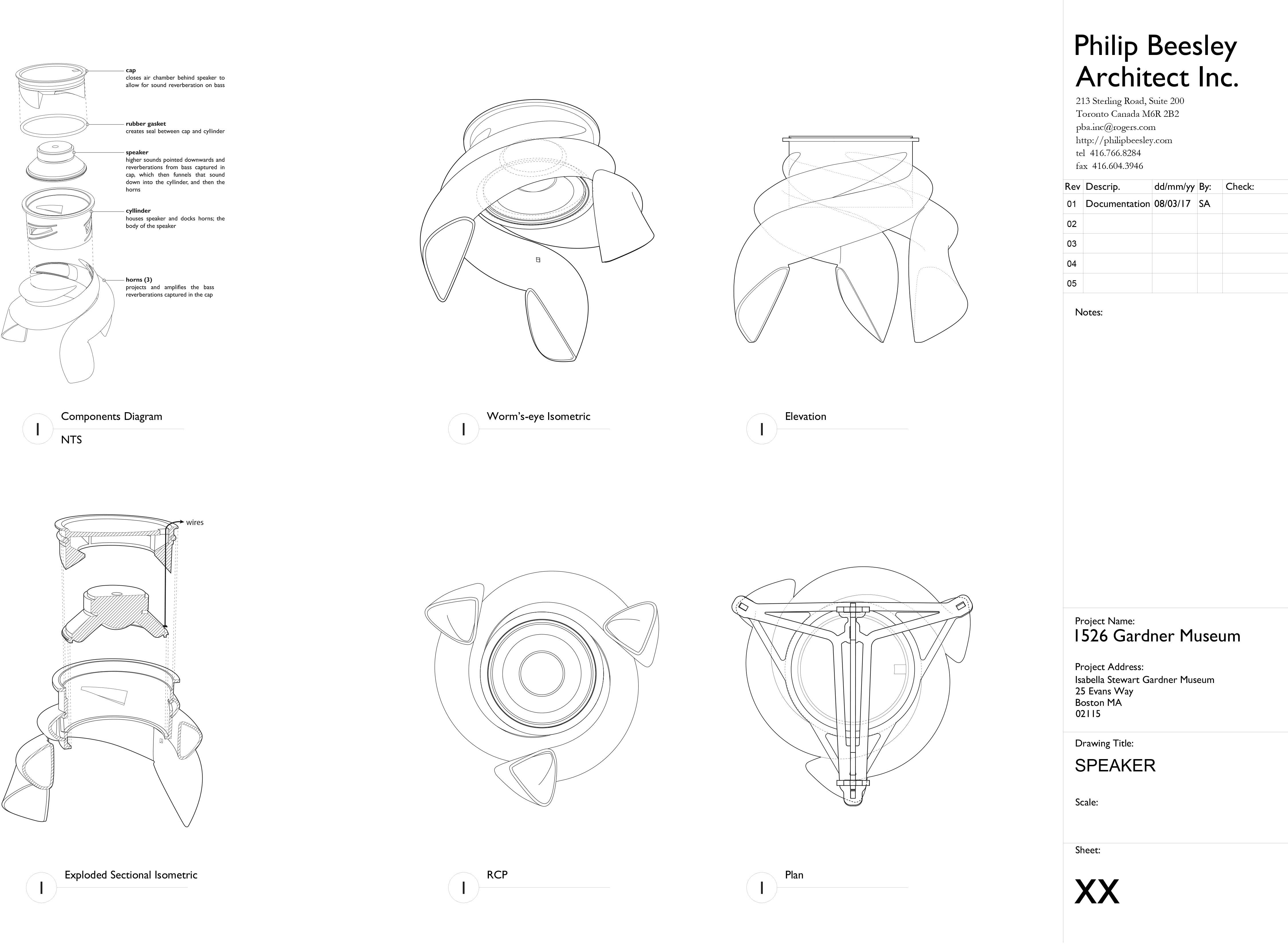 Design drawings of Philip Beesley's custom speakers, prototyped and produced using SLA 3D printing for his Sentient Veil installation at the Isabella Stewart Gardner Museum in Boston.