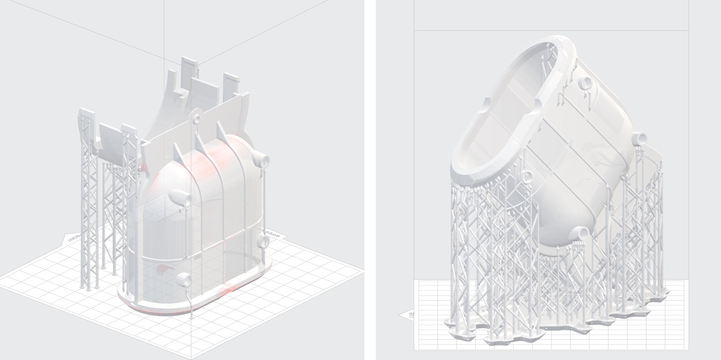 Vergleich Druck direkt auf Plattform und mit normaler Orientierung und Stuetzstruktur