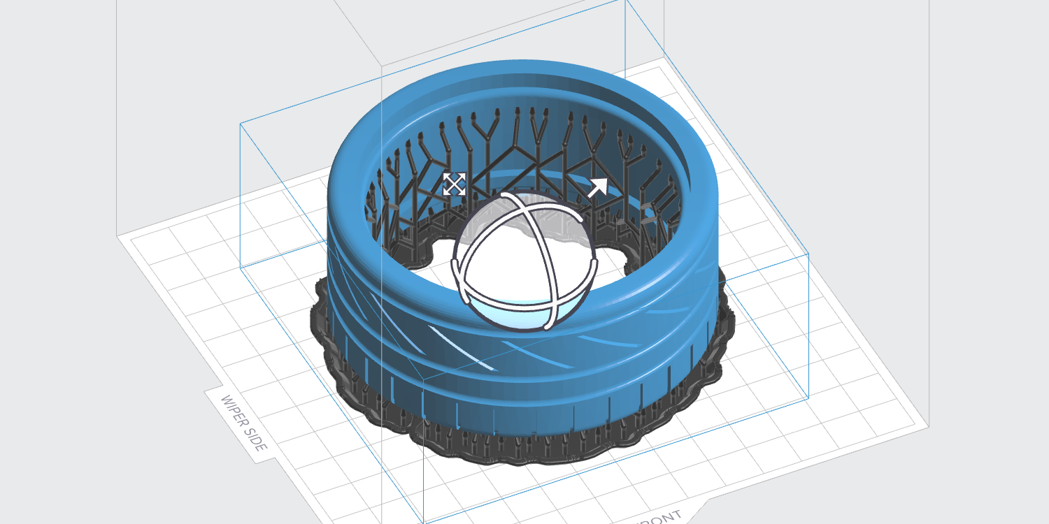 Optimized print rafts for ring-shaped parts.