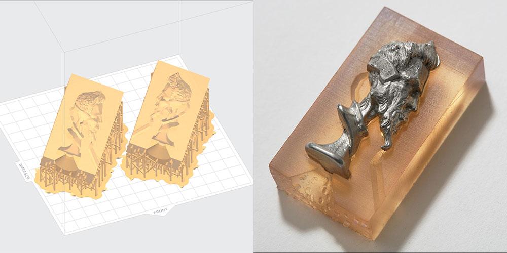 Moule en deux parties imprimé sans supports à l'intérieur, dans PreForm et imprimé.