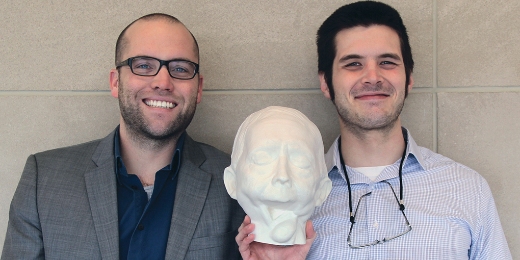 Professor Zebulun Wood and student Cade Jacobs produced 3D models of Shirley's prosthesis. Source: IUPUI