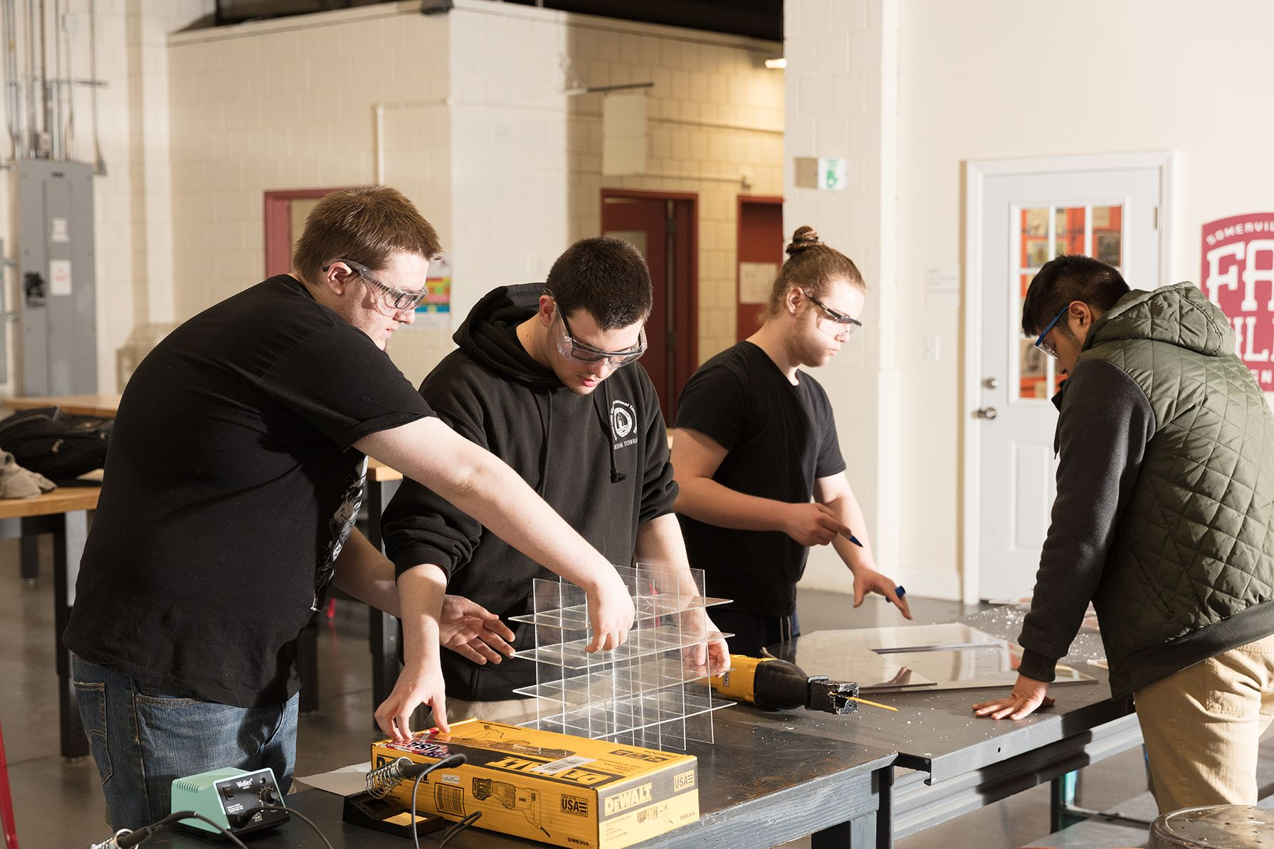 Somerville High School in Massachusetts trains vocational students to use modern technology and processes in their fabrication lab.
