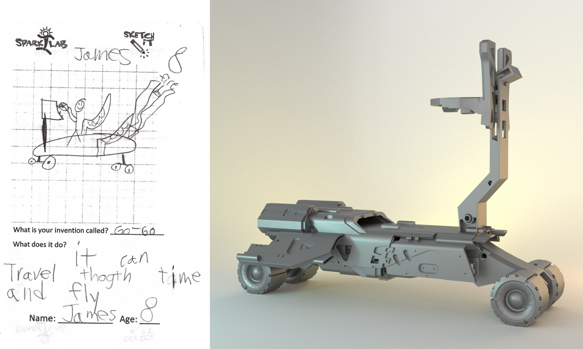 Formlabs collaborated with the Smithsonian's Spark!Lab to render the skateboard of the future.