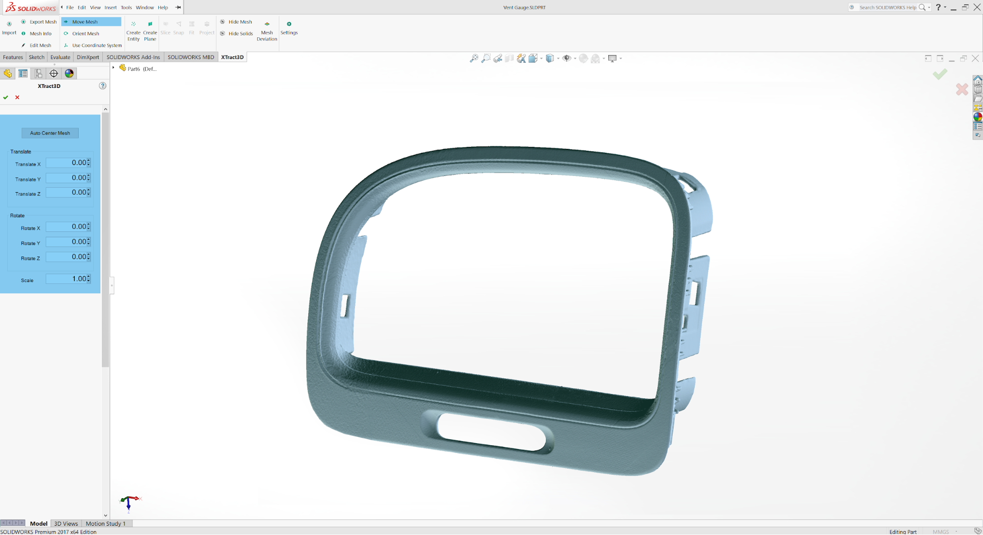 Geomagic for Solidworks screenshot showing an orthographic view