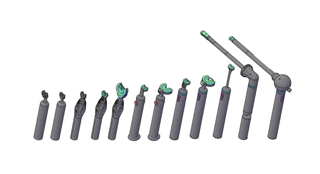Iterationssequenz von [Sutrue](/blog/3d-printing-surgical-tools-sutrue-feature/), einem automatischen chirurgischen Nahtinstrument, dessen Prototypen auf SLA-Druckern von Formlabs gefertigt wurden.