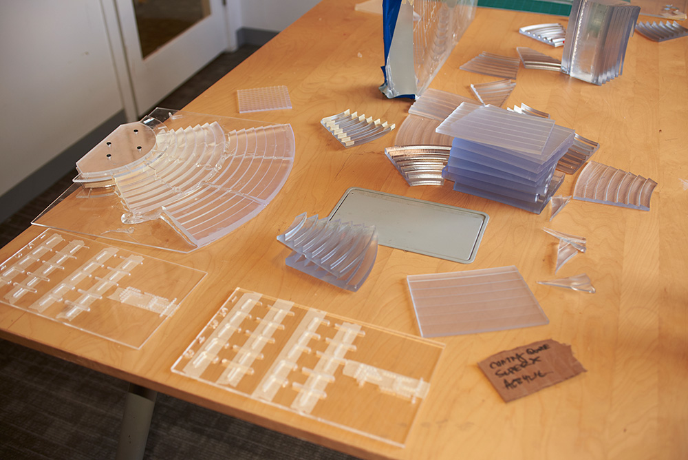 The team tested countless tile designs for the large-scale Fresnel lens, 3D printing prototypes that would eventually evolve into the final tiles.