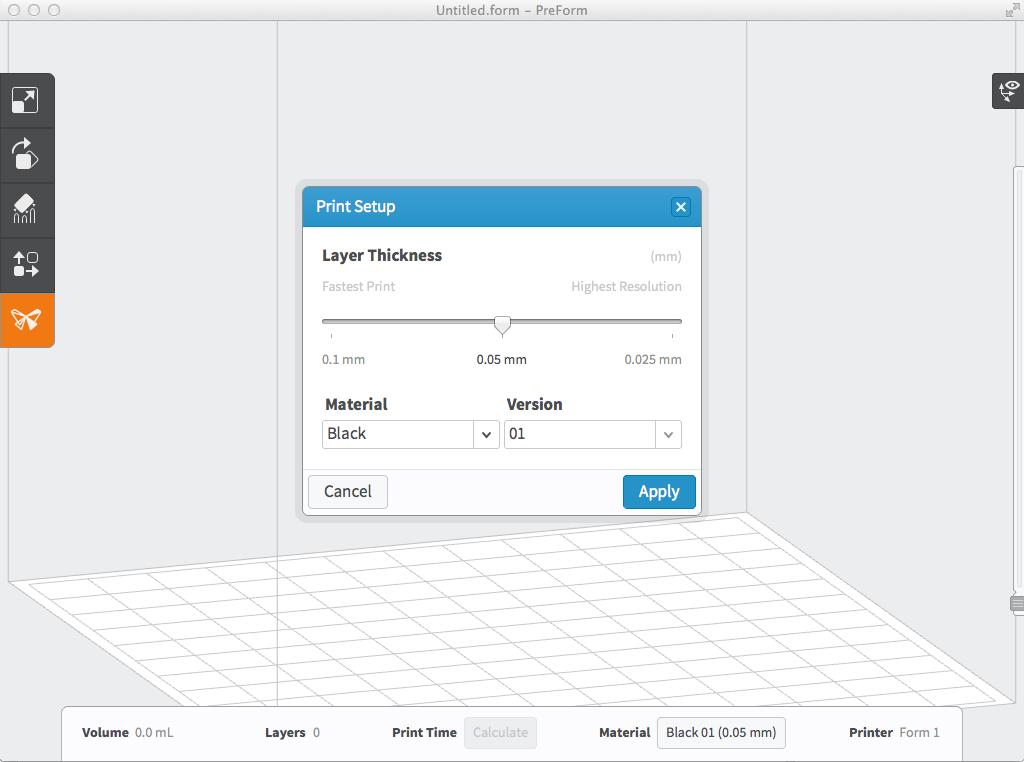 Print Setup window in PreForm