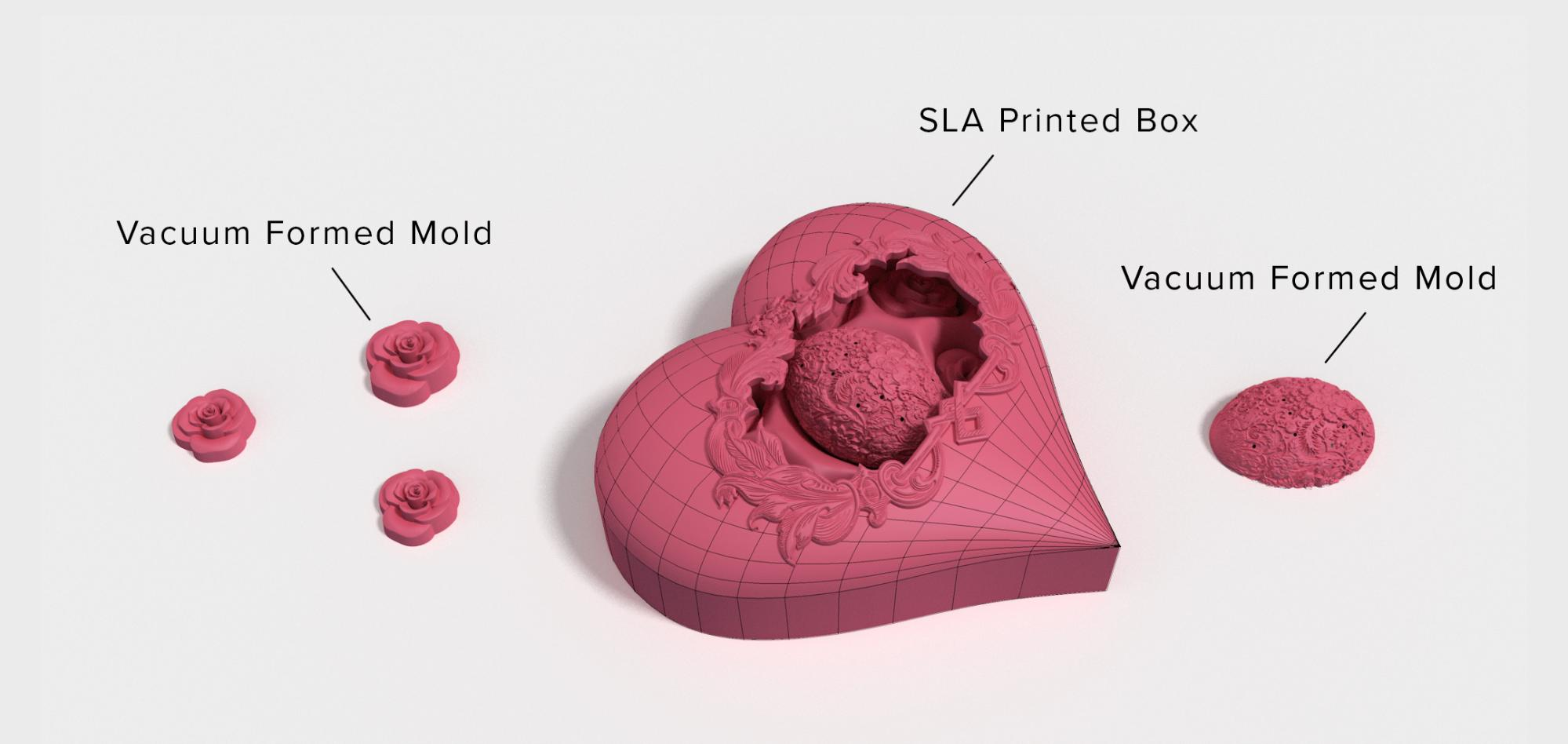 With 3D printing and vacuum forming, you can make your own intricate chocolates.