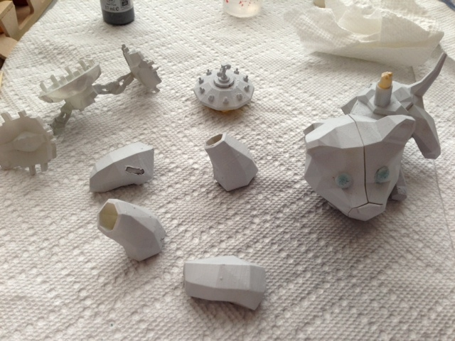 Primed V.e.r.a.1. models printed on the Form 1 3D printer