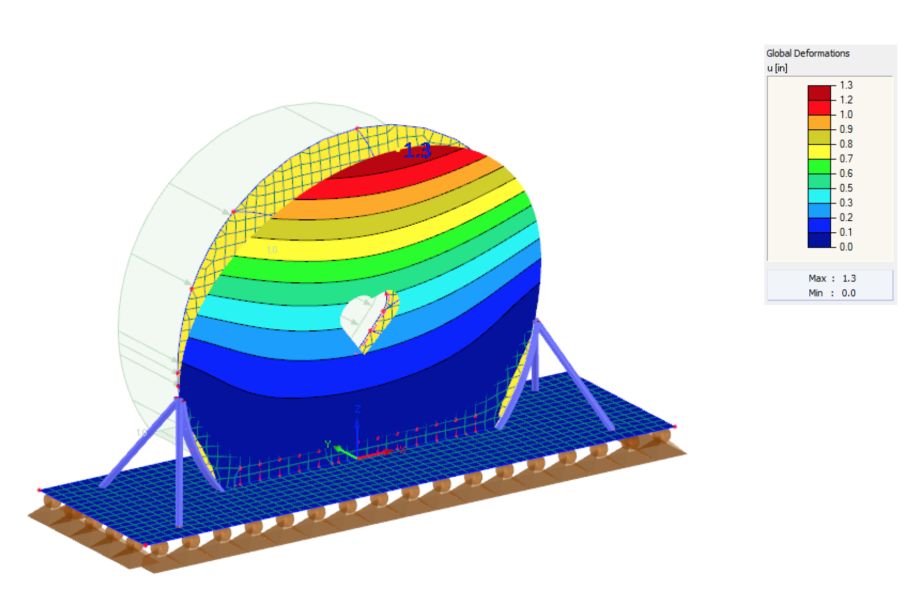 A wind load deflection analysis helped us confirm that the structure could withstand the maximum deflection (wind load) in Times Square and determine which tiles were likely to pop off and cause issues.