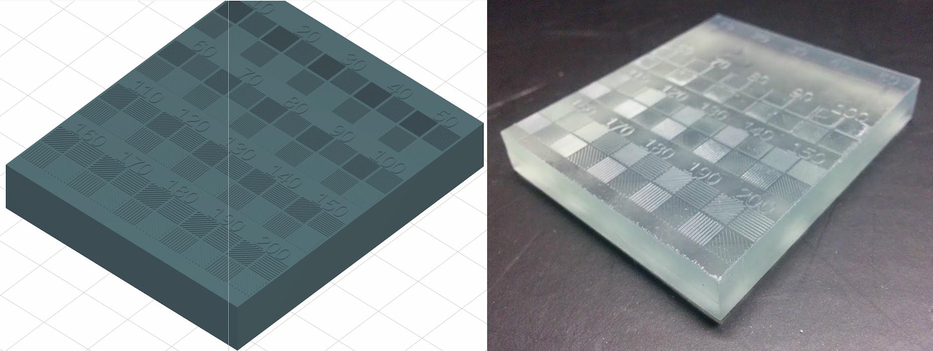 Um die minimale Strukturgröße des Form 2 auf der XY-Ebene zu testen, entwarfen wir ein Modell (links) mit Linien von 10 bis 200 µm Breite und druckten es im Transparenten Kunstharz (rechts).